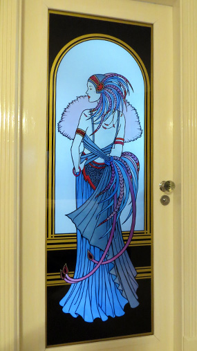 art deco lady stained glass