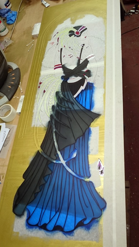 art deco lady coloured glass