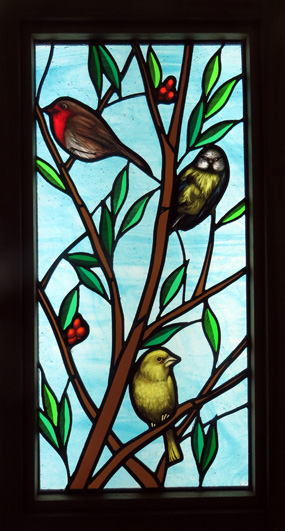 stained glass blue tit