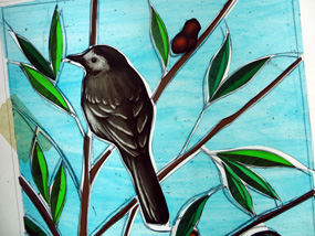 stained glass pied wagtail