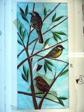 stained glass british birds