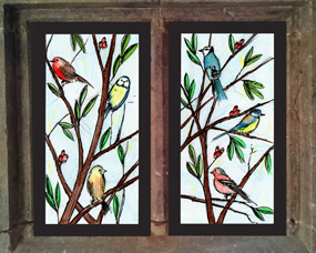 stained glass birds design